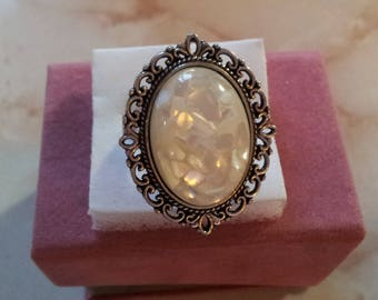 Carved cream Adjustable ring (14)