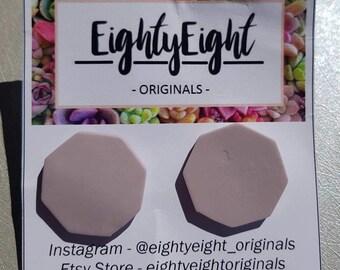 Polymer Clay Hexagon Stud Earrings