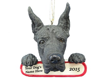 Black Great Dane Ornament With Personalized Name Plate A Great Gift For Great Dane Lovers