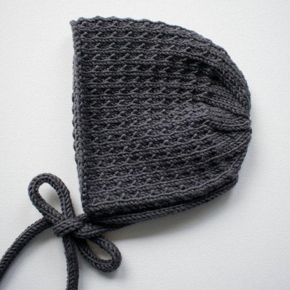 Bracken Bonnet in Charcoal Merino Wool - Size 3-6 months - Ready to Ship