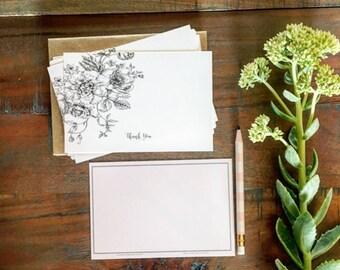 Vintage Floral Thank You's | Thank You Card Set | Notecard Set