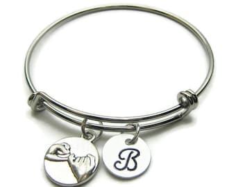 Pinky Promise Hand Stamped Initial Bangle Bracelet, Best Friend Bracelet,Expandable Bracelet,Personalized Bracelet,Best Friends, Monogram