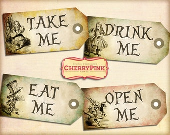 Alice in Wonderland Vintage Tags Set 2 Alice party decoration, digital party printable
