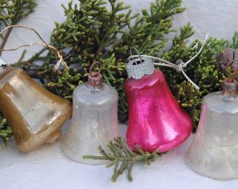 Shiny Brite bell shaped mercury glass Christmas ornaments set of four