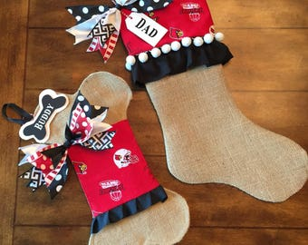 Univ of Louisville Christmas Stocking Burlap