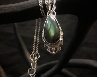 Green Labradorite Pendant in Delicate Sterling Silver Metalwork - Teardrop Labradorite Necklace