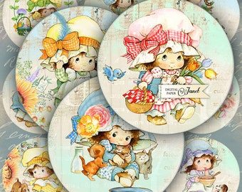 Cute Little Girl - 2.5 inch circles - set of 12 - digital collage sheet - pocket mirrors, tags, scrapbooking, cupcake toppers
