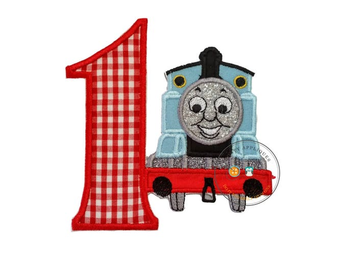 Red gingham birthday number one with little blue train, Embroidered blue train first birthday iron on applique, boys train birthday number 1