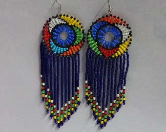 ON SALE African earrings, Beaded earrings, Boho earrings, Elegant earrings,  Multicolored earrings, Gift for her, Tribal earrings, Moms gift