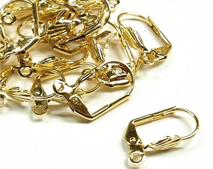 CLOSEOUT - Earwire, Leverback Shell, Gold - 100 Pieces (EWBGP-LBS)