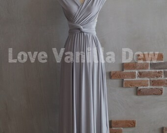 Bridesmaid Dress Infinity Dress Silver Floor Length Maxi Wrap Convertible Dress Wedding Dress