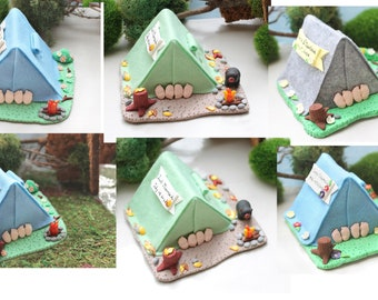 Camping tent wedding cake topper - funny cute personalized hot naughty version outdoor lovers hiking wood bear wild life light blue green