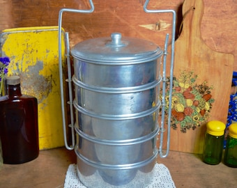 Vintage Aluminium Metal Tin Lunch Box Stacking Canisters Set Carrier Miner Mining 5 Tiers made in Holland