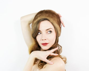 60s Mink Hat | Soft Brown Fur Winter Hat