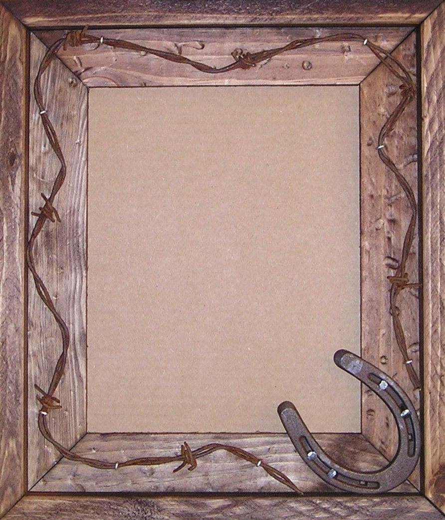 Handmade Wood Frame with Horseshoe and Barb Wire. Cowboy or Lodge ...
