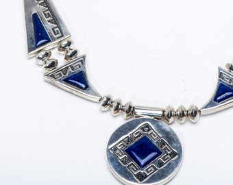 Navajo Reversible Sterling Necklace - Alvin & Lula Begay - Lapis and Opal - 133g