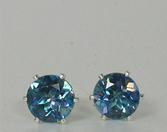 Blue Mystic Topaz 8mm Round 4.55ctw Sterling Silver Studs