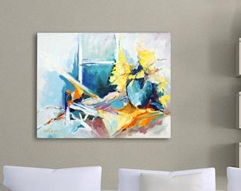 Original Acrylic Painting, Flower Abstract Painting, Abstract Floral Art, Acrylic Painting Canvas, Turquoise Painting Yellow Orange White