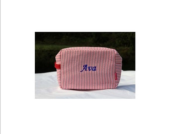 Personalized Red Stripe Seersucker Cosmetic Pouch Jewelry Case with Zipper Bridesmaid Travel Gift