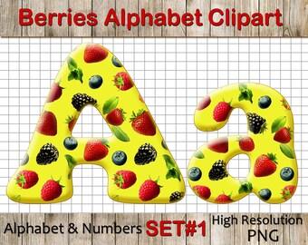Berry Alphabet Clipart: Berry Clip Art, Berry Letters, Berry Font, Berry Numbers, letters and numbers clipart, Scrapbook supplies PNG