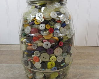 Old glass pickle jar with lid filled with vintage buttons- sewing notions, buttons, crafts, supplies