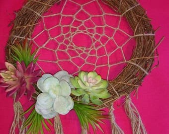 Large artificial succulent dream catcher