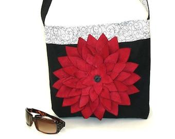 Canvas fabric tote bag, shoulder bag, ladies satchel pocketbook, black red white