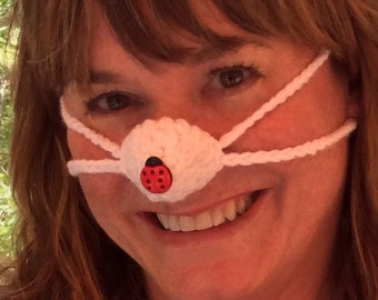 Nose Warmer, Ladybug on your Nose - Woman, Teen Tween,  Nose Cozy, Outdoors Games, Indoors, Stocking Stuffer, Teacher Mom Gift, Frozen Nose