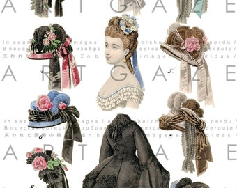 ANTIQUE BONNETS Stunning 1800s French Fashion Print.  Vintage Millinery Clip Art. Digital Hats Download. Bonnets Collage Sheet.