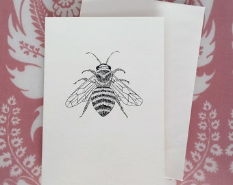 Miel abeille Illustration carte de Note
