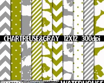 Digital Paper Pack INSTANT DIGITAL DOWNLOAD Chartreuse & Gray Floral Patterns Chevron Polka Dots Scrapbooking Printables Cards Backgrounds