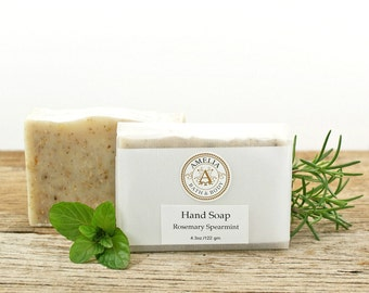 Hand Soap | Natural Kitchen Soap, Gardeners Soap, Essential Oil Soap, Scrub Bar Made With Grits | Rosemary Spearmint Hand Soap