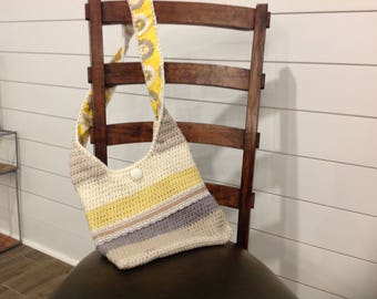 yellow and cream crochet shoulder bag