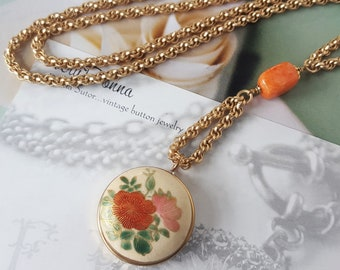 Japanese Satsuma Necklace Button Hand Painted Porcelain Jewelry Asian Floral Flowers Orange, Antique Button Jewelry veryDonna