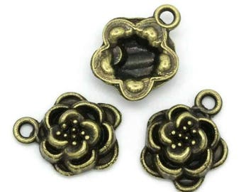 set of 5 charms bronze metal shabby chic style