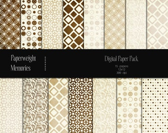 Caffe Latte - Instant download - Digital Papers - digital scrapbooking - coffee coloured patterned paper - Commercial use