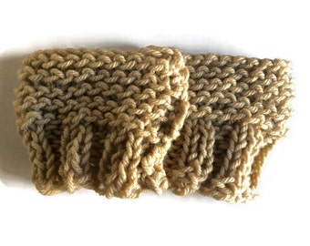 Dark Beige Boot Cuffs Boot Toppers One Size Fits All 5in x 6in or 12.7cm x 15cm