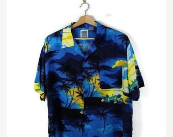 ON SALE Vintage Men's Hawaiian shirt from 90's/Palm tree/Blue
