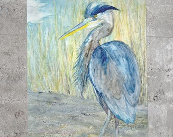 Great Blue Heron Scarf - Watercolor Painting - Accessory Clothing