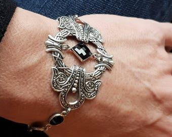 Bracelet art nouveau silver and black - onyx stones and swarovski crystal square cabochon - magnetic clasp