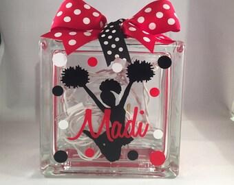 Girls Customized/Personalized Cheerleader/Cheerleading Lighted Glass Block Nightlight (6-inch)