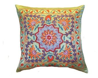 Handmade Suzani Silk Pillow Cover SP32 (EMP703), Suzani Pillow, Uzbek Suzani, Suzani Throw, Suzani, Decorative pillows, Accent pillows
