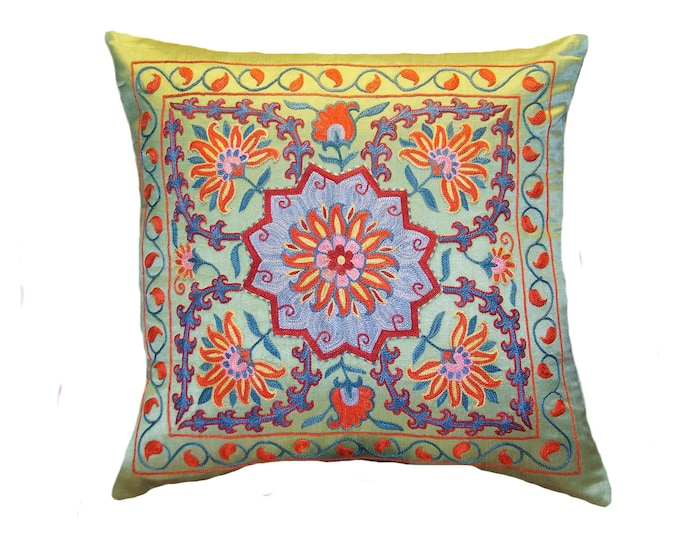 Handmade Suzani Silk Pillow Cover EMP703, Suzani Pillow, Uzbek Suzani, Suzani Throw, Suzani, Decorative pillows, Accent pillows