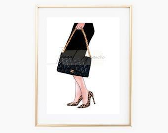 Chanel Bag Fashion Illustration Print,Fashion Sketch Print,Chanel Illustration Print,Leopard heels Chanel Home Decor