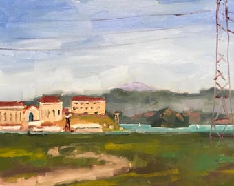 Plein Air Original Oil Painting Landscape San Quentin Prison Sailboats Greenbrae Mill Valley Marin County Northern California Artist USA