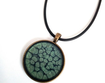 Hand made leaf and covered with resin necklace