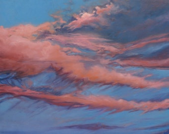 Sunrise Oil Painting- Original Cloud Art on Canvas- Water-Based Oils- Pink and Blue- 24x30-  Free US Shipping-  Horizontal