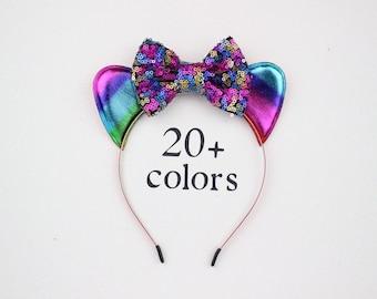 Cat Ear Headband with Rainbow Bow   Girl Headband   Birthday Ears   1st Birthday   Girl outfit   Birthday Headband   Cat Ears + Rainbow Bow