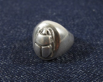 Vintage Silver Scarab Ring Egyptian Sterling Beetle Hieroglyphic Men's Ring