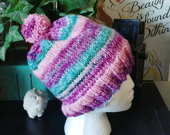 Colorful hand knit pink/purple/teal hat with pom pom